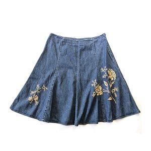 JONES Embroidered Denim Flared Skirt 10